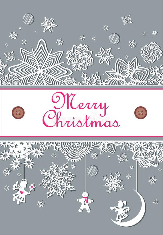 Decoración de papel en colores pastel del invierno con los copos de nieve, los ángeles colgantes y el pan de jengibre ilustración del vector