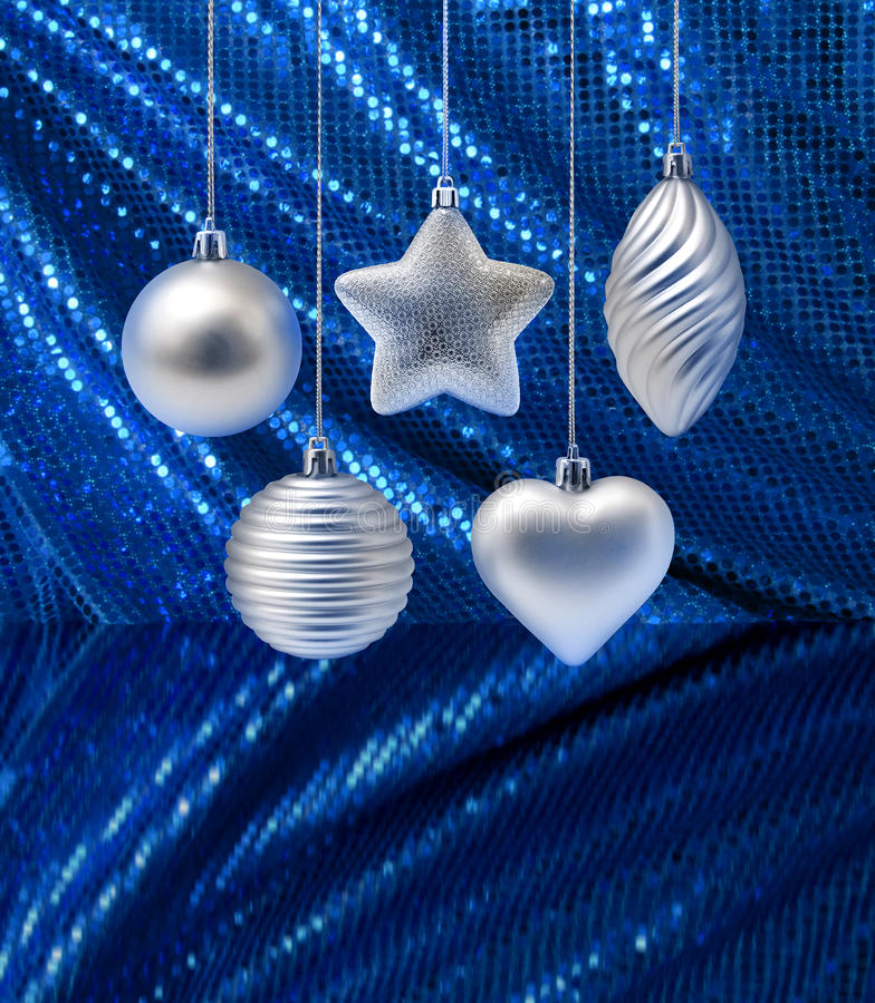 Decoración de plata de la Navidad imagen de archivo