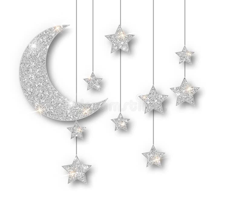 Decoración de plata del Ramadán aislada en el fondo blanco Estrellas colgantes del brillo de Crescent Islamic Ramadan Kareem Desi ilustración del vector