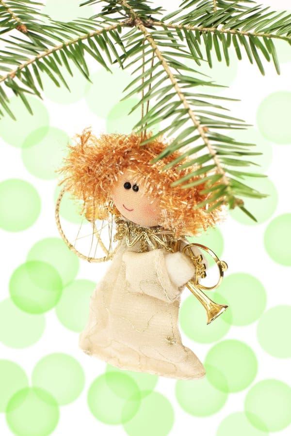 Decoración del ángel, del árbol de navidad, y llamarada de la luz imagen de archivo libre de regalías