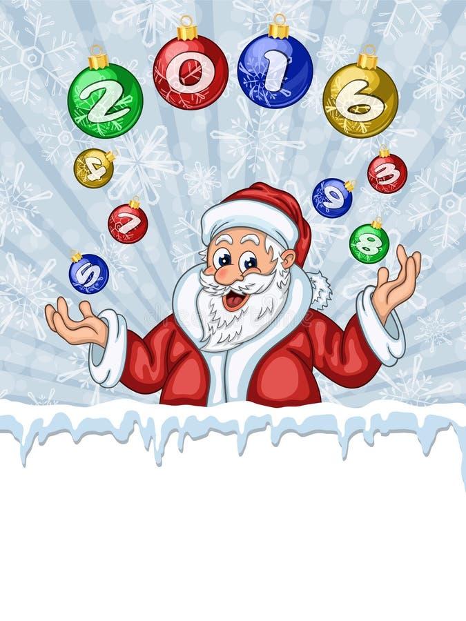 Decoración del árbol de navidad de Santa Claus que hace juegos malabares ilustración del vector