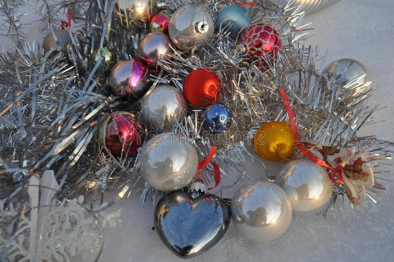Decoración del árbol de navidad para las tarjetas de felicitación fotografía de archivo