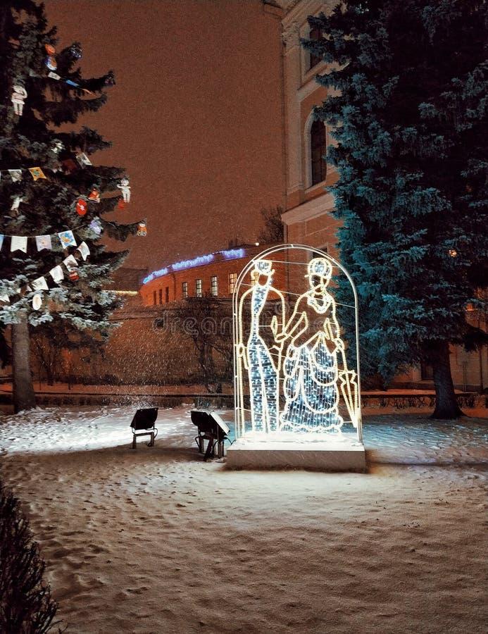Decoración del Año Nuevo de la calle foto de archivo
