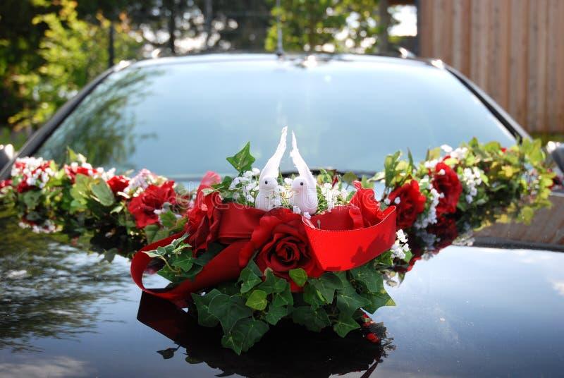 Decoración del coche de la boda de dos palomas blancas imagen de archivo libre de regalías