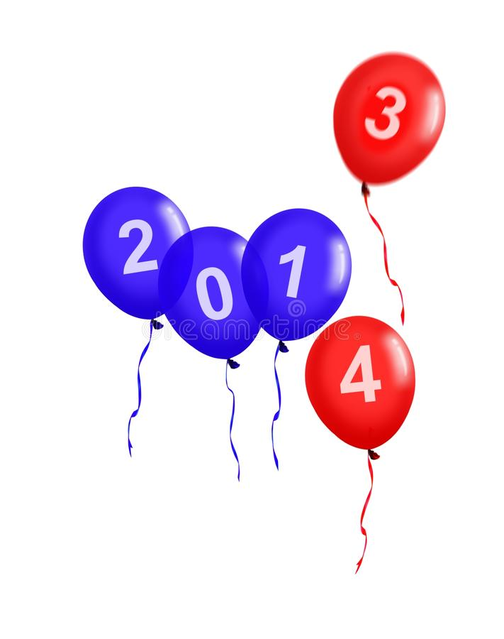 Decoración del día de fiesta del globo del partido del Año Nuevo. stock de ilustración