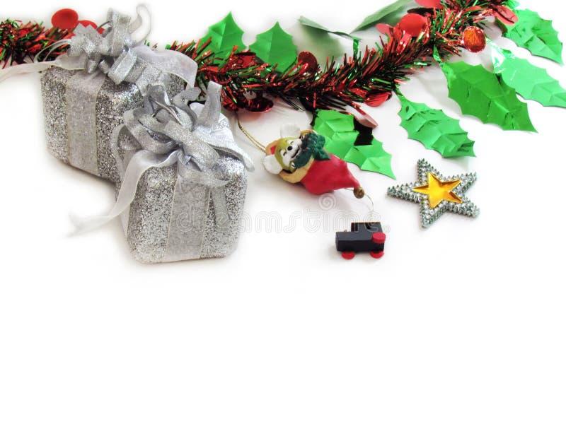 Decoración del día de fiesta de la Navidad o del Año Nuevo con el ornam de la estrella de la ejecución imágenes de archivo libres de regalías