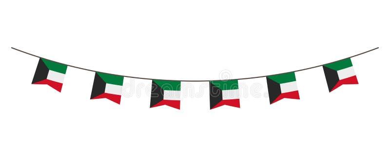 Decoración del empavesado en colores de la bandera de Kuwait Guirnalda, banderines en una cuerda para el partido, carnaval, festi libre illustration