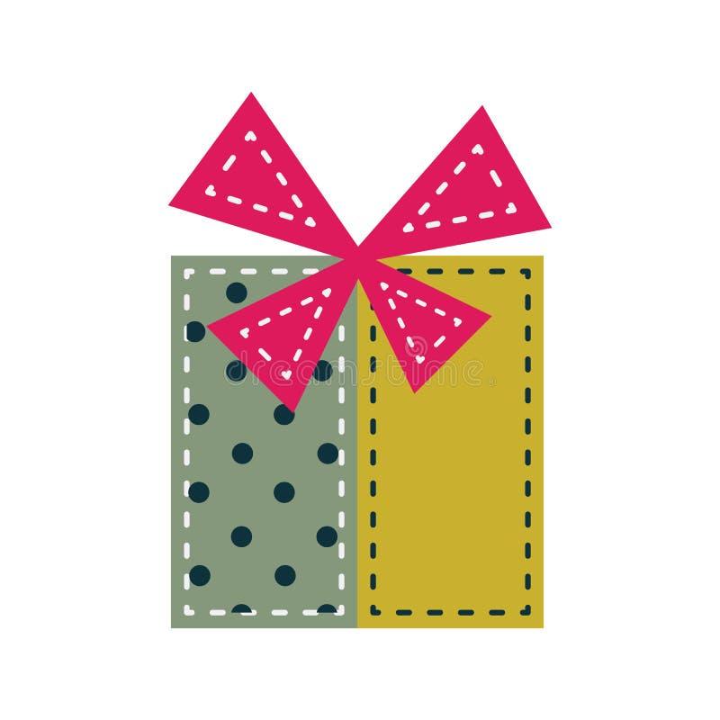 Decoración del fieltro del vintage del ornamento de la caja de la Navidad ilustración del vector