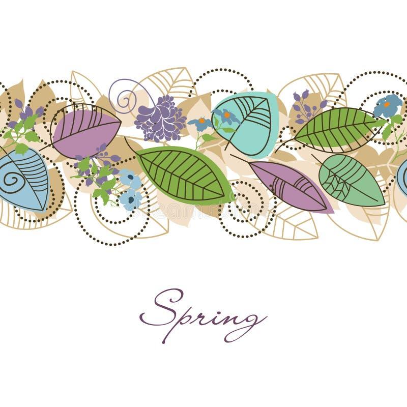 Decoración del follaje de la primavera stock de ilustración