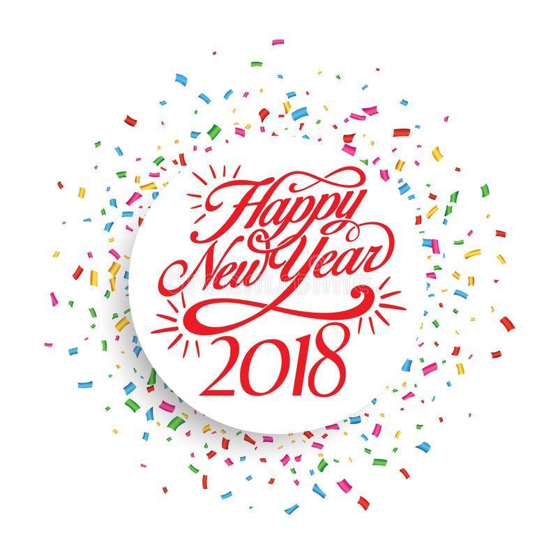 Decoración 2018 del fondo de la Feliz Año Nuevo Confeti 2018 de la plantilla del diseño de la tarjeta de felicitación Ejemplo del fotografía de archivo libre de regalías