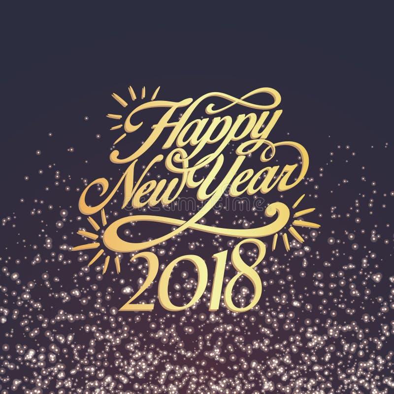 Decoración 2018 del fondo de la Feliz Año Nuevo Confeti 2018 de la plantilla del diseño de la tarjeta de felicitación Ejemplo del imagen de archivo