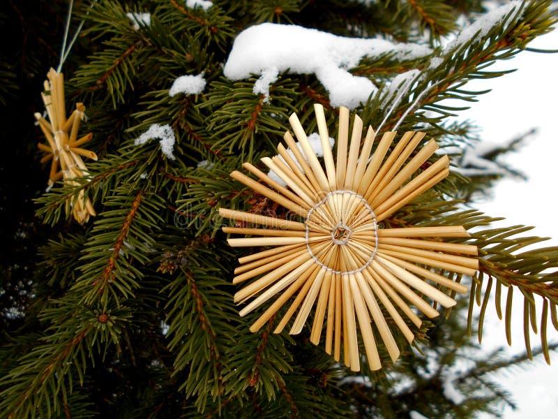 Decoración del juguete de la Navidad de la paja imagen de archivo libre de regalías