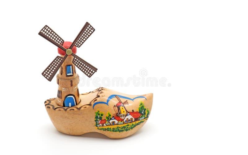 Decoración del molino de viento y del estorbo de Holanda en el fondo blanco foto de archivo libre de regalías