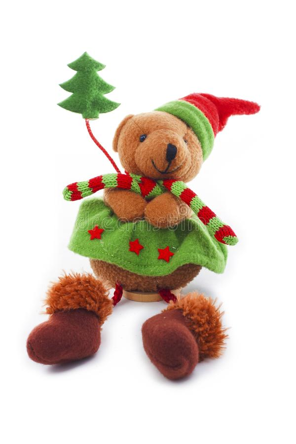 Decoración del oso de la Navidad Decoración linda del juguete de la felpa para la Navidad Traje de la Navidad del oso de Mini Ted imágenes de archivo libres de regalías