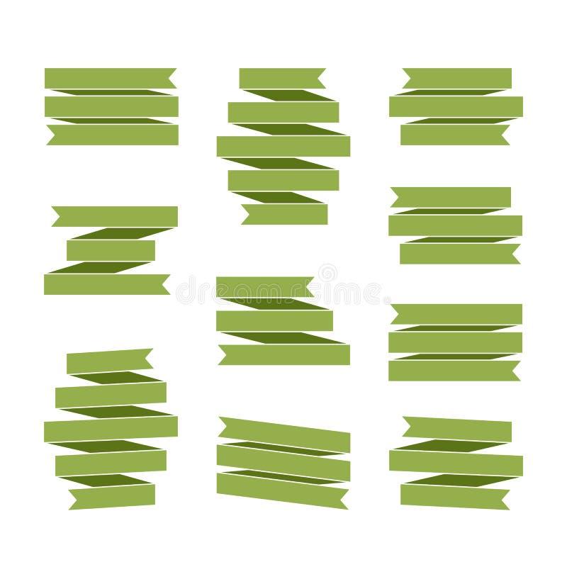 Decoración en blanco fijada banderas verdes de la cinta ilustración del vector
