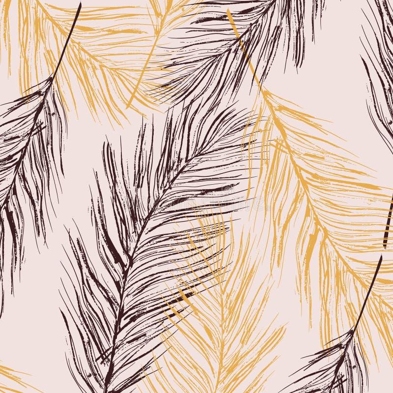 Decoración en colores pastel de la pluma del vector Elementos de la piel de los pájaros Textura casera de lujo elegante, decoraci ilustración del vector