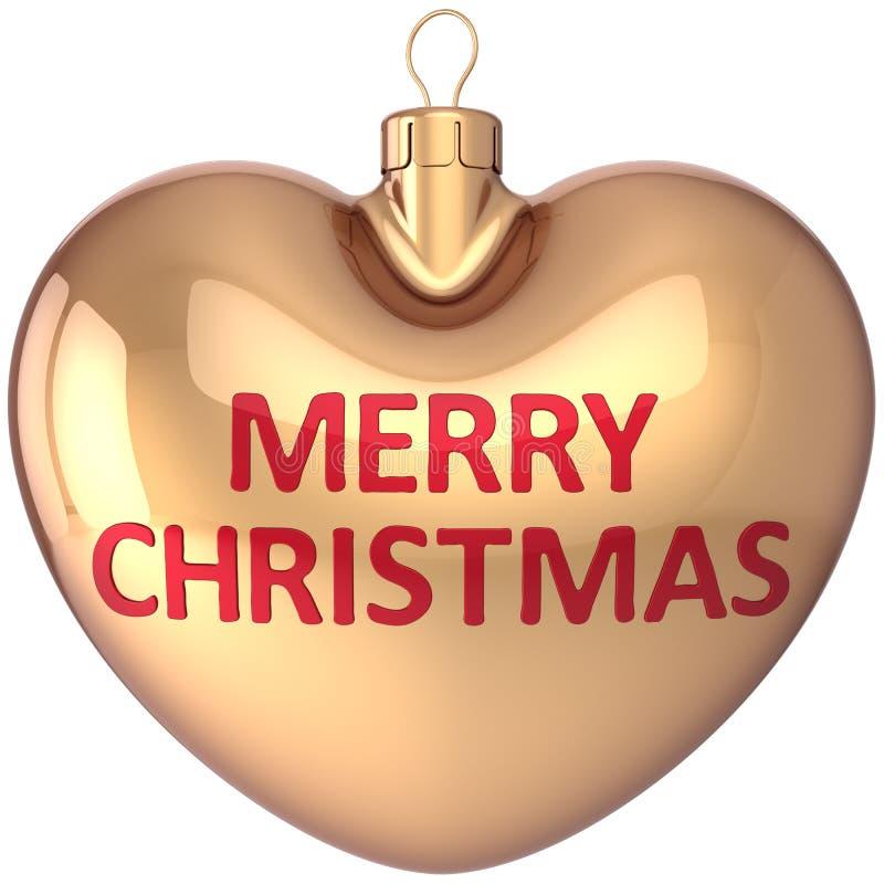 Decoración en forma de corazón del oro de la bola de la Feliz Navidad libre illustration