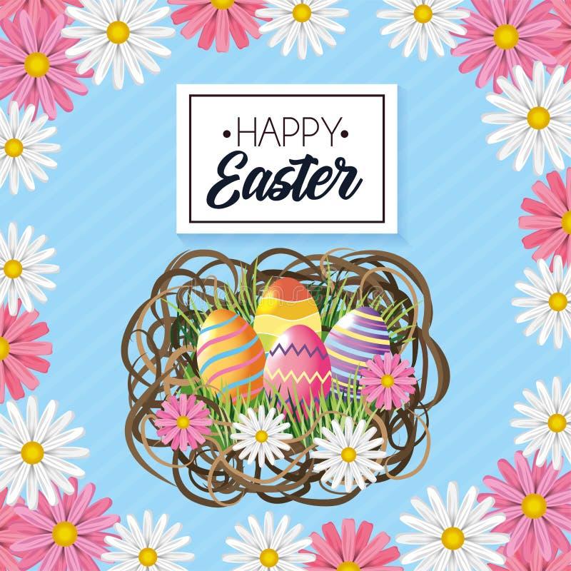 Decoración feliz de los huevos de Pascua con las flores dentro de la jerarquía libre illustration