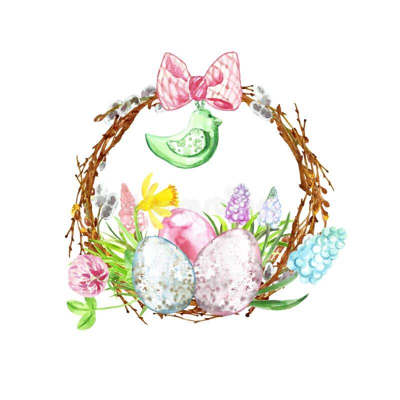 Decoración feliz de pascua de la acuarela Guirnalda pintada a mano con los huevos coloreados, las ramas de árbol y las flores c fotos de archivo libres de regalías