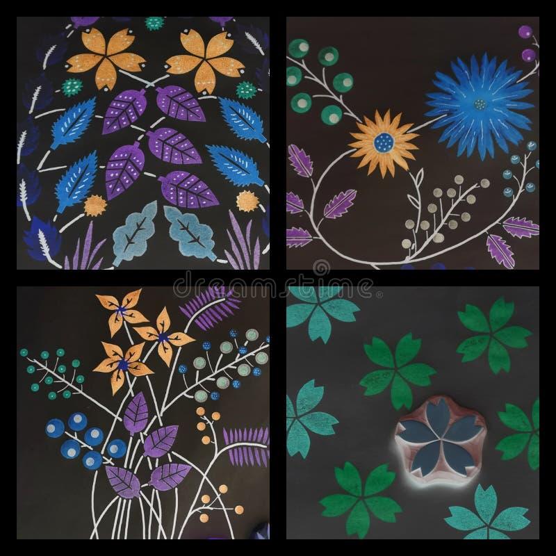 Decoración floral de la pared de la impresión del extracto de las flores fotografía de archivo