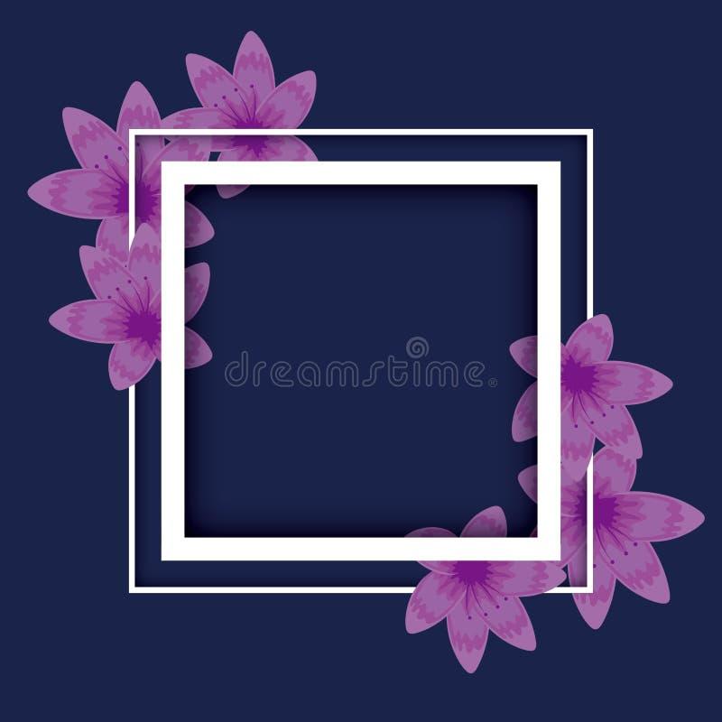 Decoración floral del marco cuadrado stock de ilustración