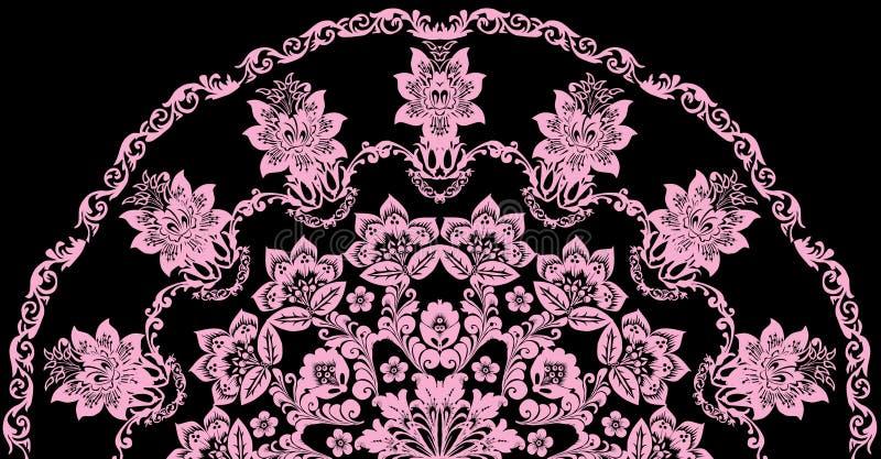 Decoración floral el en semi-círculo rosado ilustración del vector