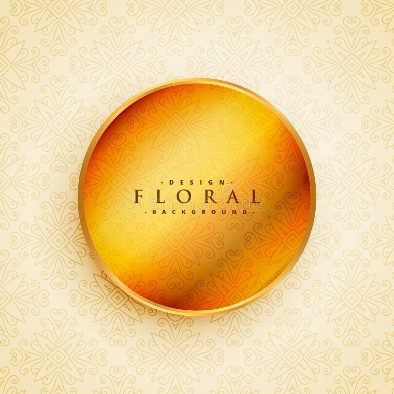 Decoración floral hermosa con el círculo de oro en estilo del vintage libre illustration