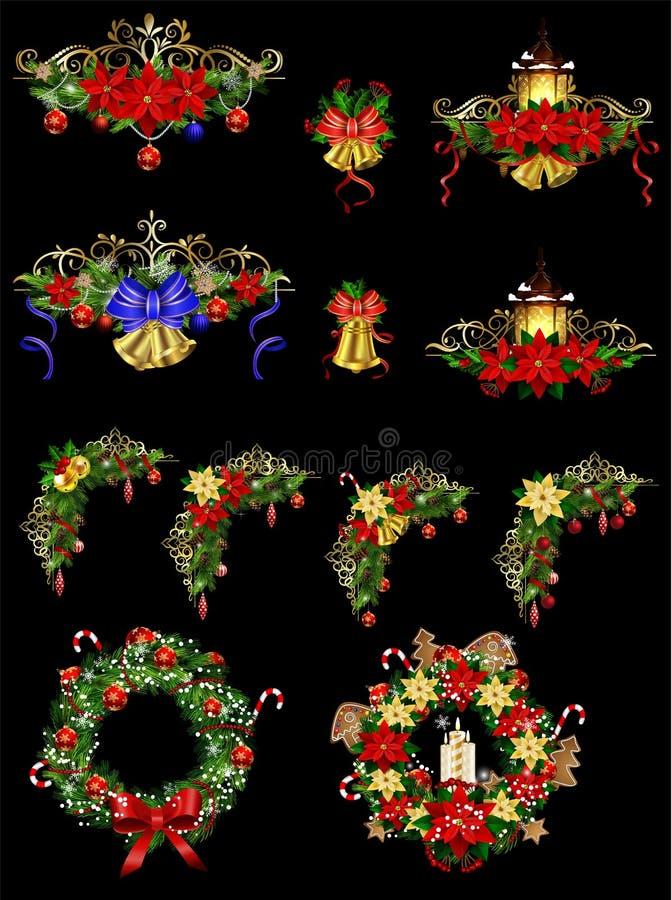 Decoración grande de la Navidad con la luz de calle ilustración del vector