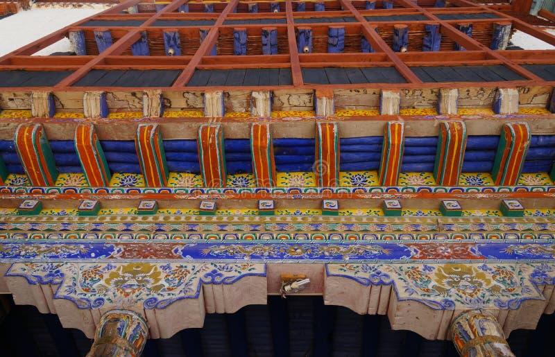 Decoración interior del arte en el monasterio de Hemis, Ladakh, la India fotos de archivo libres de regalías