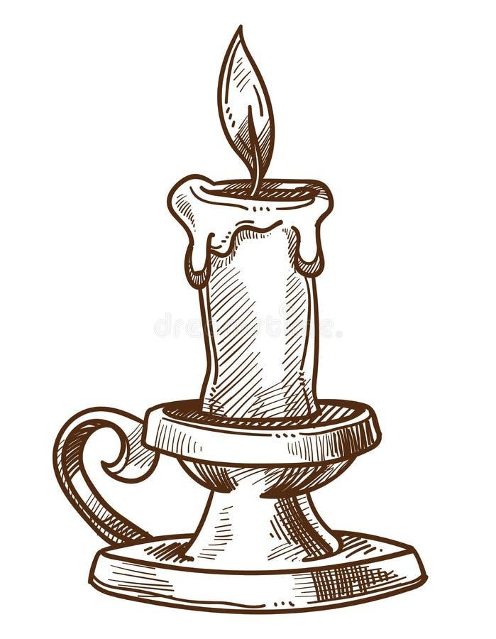 Decoración interior retra de la vela y de la palmatoria y bosquejo aislado dispositivo ligero ilustración del vector