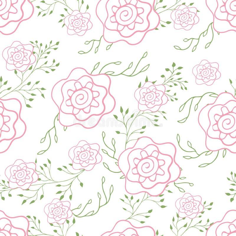 Decoración linda de las rosas del modelo sin fin para las telas o empaquetar ilustración del vector