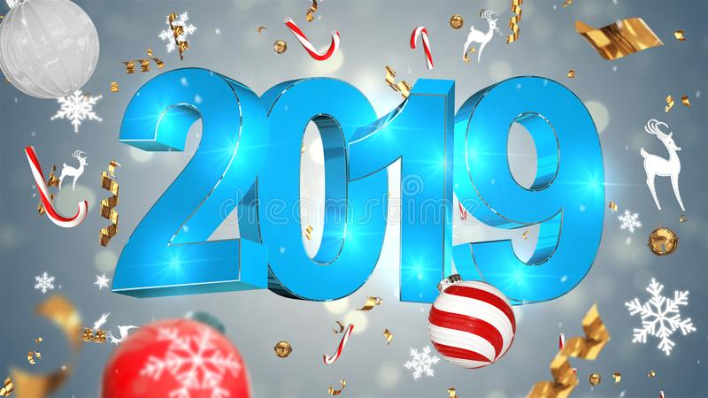 Decoración nostálgica de la Navidad, texto azul 2019, fondo gris con la malla colorida, juguetes de la Navidad imágenes de archivo libres de regalías