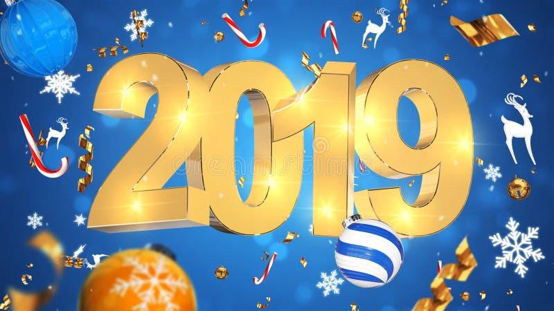Decoración nostálgica de la Navidad, texto de oro 2019, fondo azul con la malla colorida, juguetes de la Navidad imágenes de archivo libres de regalías