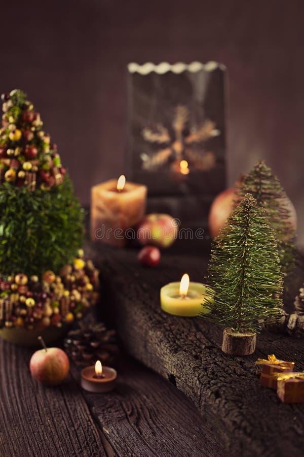 Decoración rústica de la Navidad fotos de archivo libres de regalías