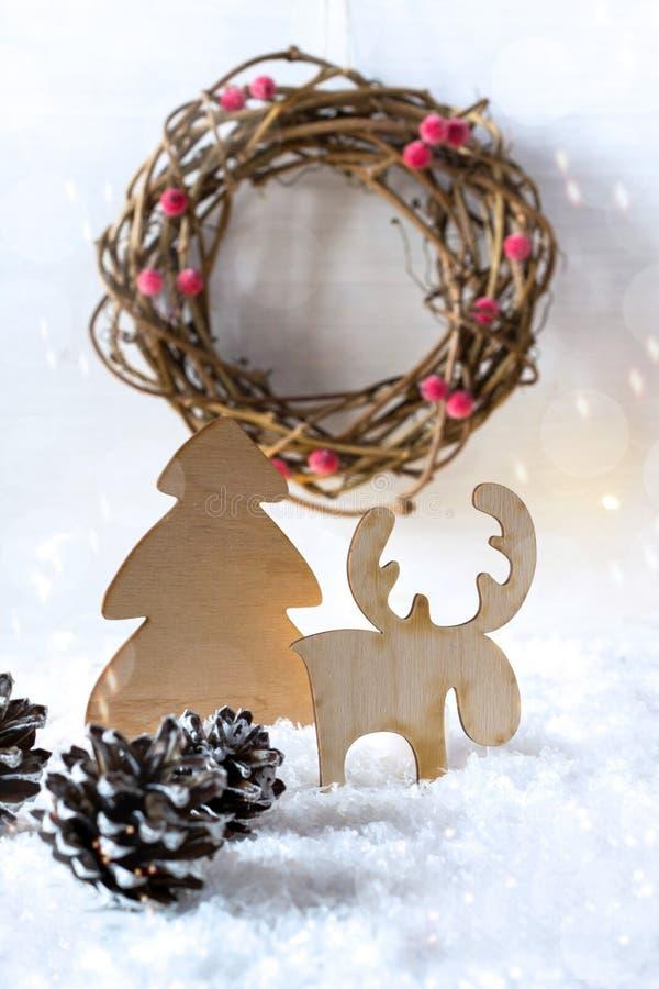 Decoración rústica de la Navidad del vintage de madera Decoración interior del eco imagen de archivo