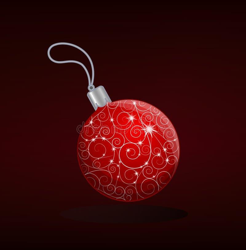 Decoración roja de la bola de la Navidad con el ornamento agraciado stock de ilustración