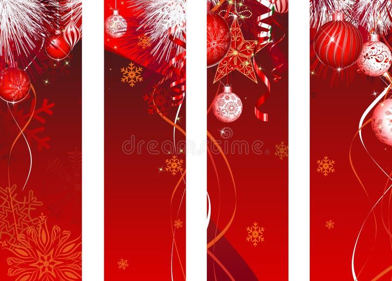 Decoración vertical del rojo de la bandera de la Navidad ilustración del vector