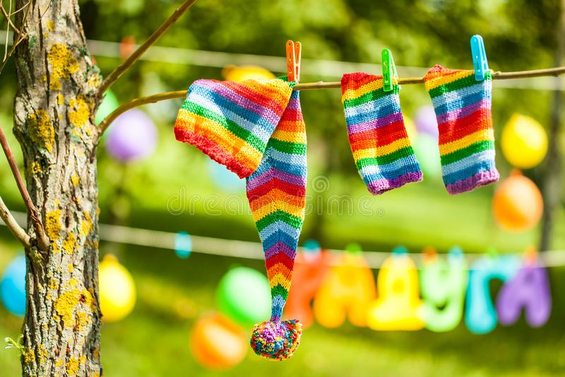Decoración vibrante del partido del arco iris imágenes de archivo libres de regalías