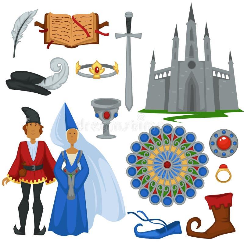 Decoración y accesorios góticos hombre y mujer de la arquitectura de la moda del vintage del estilo ilustración del vector