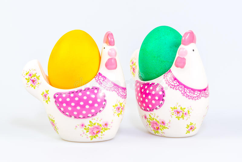 Decoración y huevos de Pascua fotos de archivo