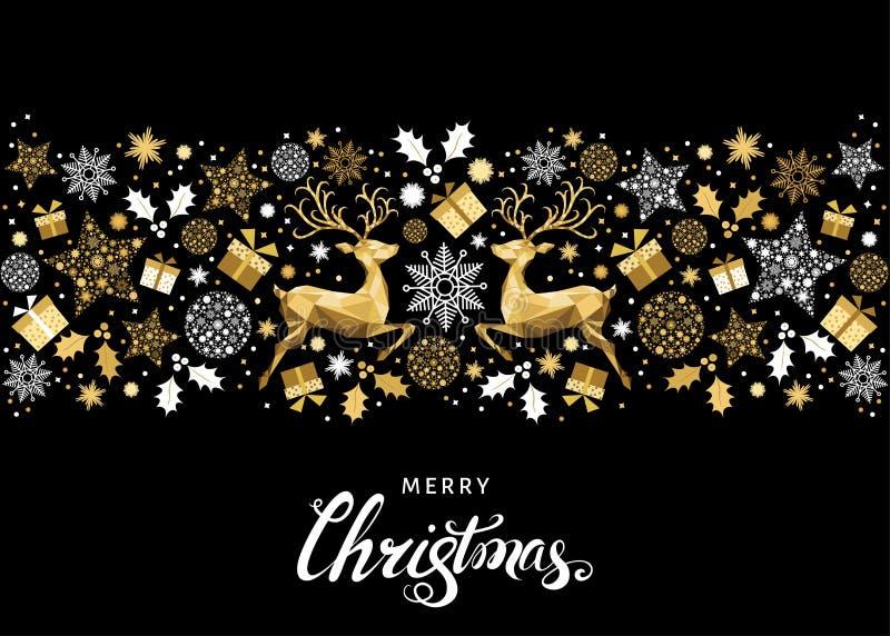 Decoración y letras de oro del árbol de la Navidad ilustración del vector