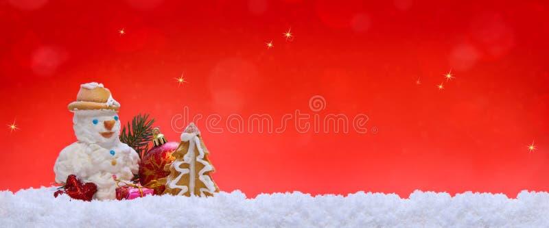 Decoración y muñeco de nieve de la Navidad stock de ilustración
