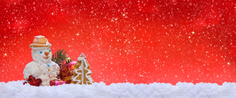 Decoración y muñeco de nieve de la Navidad libre illustration