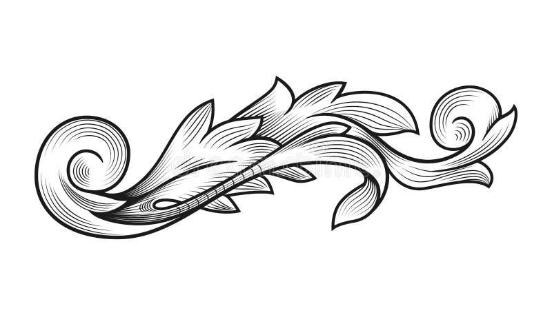 Decoraci?n que se casa floral de la frontera del marco del vintage afiligranado rococ? barroco del acanthus libre illustration