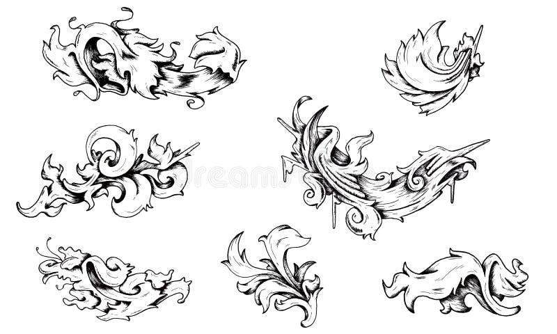 Decoraciones barrocas stock de ilustración