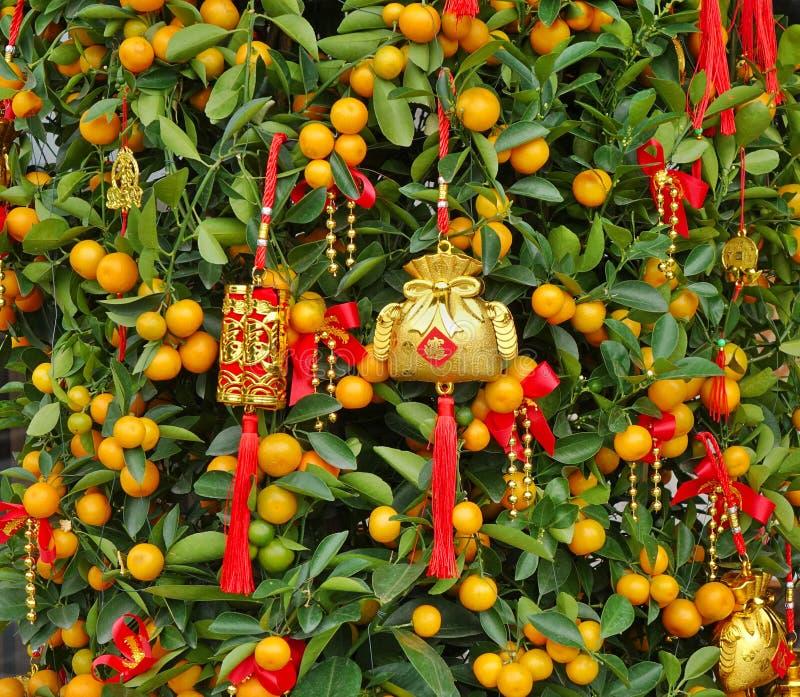 Decoraciones chinas de Año Nuevo y símbolos afortunados fotos de archivo