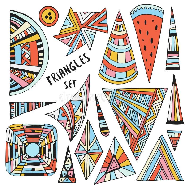 Decoraciones coloridas dibujadas mano de los triángulos del vector Garabato geométrico y ornamental fijado para las etiquetas eng ilustración del vector