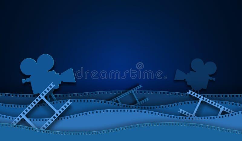 Decoraciones cortadas de papel del cine con el marco de la tira de la película aislado en fondo azul cámara de 35 milímetros diap stock de ilustración