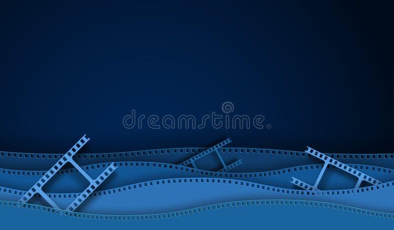Decoraciones cortadas de papel del cine con el marco de la tira de la película aislado en fondo azul cámara de 35 milímetros diap ilustración del vector