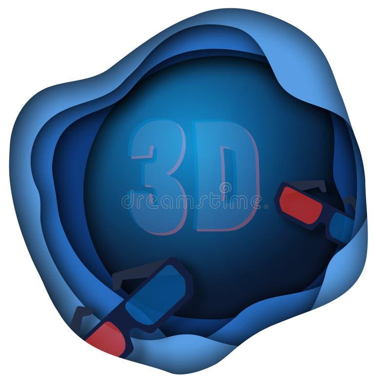 Decoraciones cortadas de papel del cine con los vidrios de la película 3D aislados en la audiencia azul del fondo en círculo Cine stock de ilustración